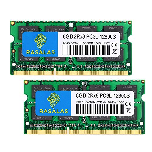 Rasalas DDR3 16GB DDR3 Kit (2x8GB) PC3-12800 DDR3 1600 MHz 2Rx8 PC3L 12800S 1.35V 204-Pin CL11 Non-ECC Unbuffered Laptop Memory Notebook RAM Module for Mac, Intel and AMD System