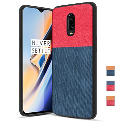 OnePlus 6T Case with Dual Layer Shockproof Half PC Back & TPU Soft Jeans Lines Full-Body Protective Armor Scrape Proof Heavy Duty case, Red+Blue