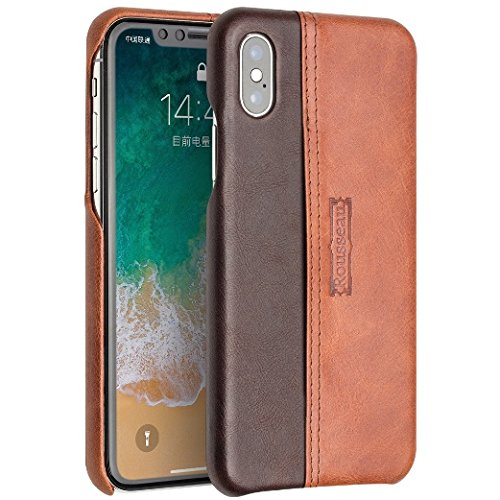Rousseau iPhone X Case, iPhone 10 Case, Wallet Phone Case Leather Slim Back Case Cover, iPhone X Wallet Slim Leather Back Case with Credit Card Holder for Apple iPhone X (Brown)