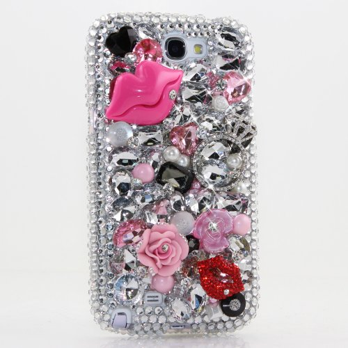 Samsung Note 2 Luxury 3D Bling Case - Gorgeous Ring Pink Rose Kiss Lips Fashion Gem Design - Swarovski Crystal Diamond Sparkle Girly Protective Cover Faceplate (100% Handcrafted By Star33mall)