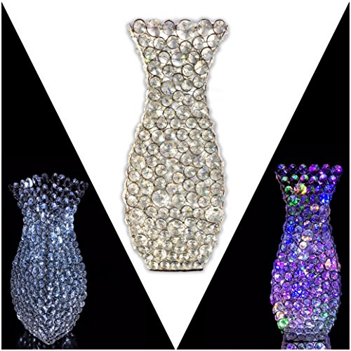Unique tall vases for wedding centerpieces amazon esca di luces vincenza 14 genuine crystal flower vase for flowers decorative centerpiece silver tall square set of multi colored and white led junglespirit Image collections