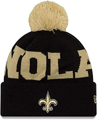 new images of big discount official shop New Orleans Saints Scoreboard Cuffed Knit Pom Hat/Cap