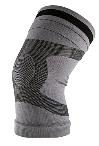Body Glove Comfort Copper Knee Compression Sleeve - Meniscus Knee Support for Women and Men - Knee Pain Relief , Workout Knee Protection , Post-Surgery Recovery, Patella Support, Sports (Grey, (Glove Medium Wetsuits)