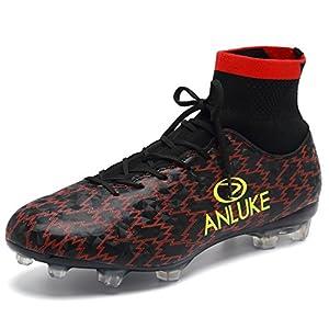 ANLUKE Men's Athletic Hightop Cleats Soccer Shoes Football Team Turf Black 43
