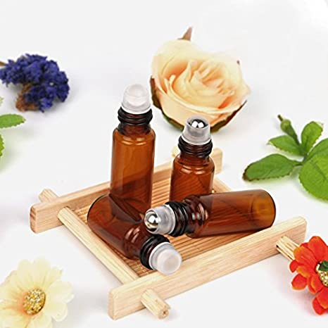 5 ml Roll On cristal regla ámbar marrón botella para aceite esencial vacío aromaterapia de frascos de perfume recargables Slim con bola de metal y negro Cap ...