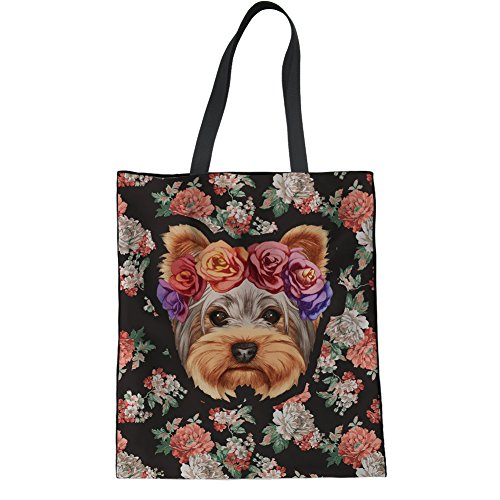 Canvas Terrier Bag Print Cotton Yorkshire IDEA Tote Women's College Terrier Bag Leisure Yorkshire HUGS Shopping nq8fxwtBt1