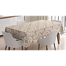 Lunarable Garden Art Tablecloth, North American Fauna and Flora Cartoon Happy Owls with Mountain Ash Branches, Dining Room Kitchen Rectangular Table Cover, 60 W X 84 L Inches, Multicolor