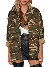 Women Military Camo Lightweight Long Sleeve Camouflage Jacket Coat