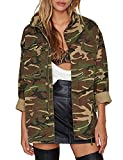 IRISIE Women Military Camo Lightweight Long Sleeve Jacket Coat(M,Army Green)