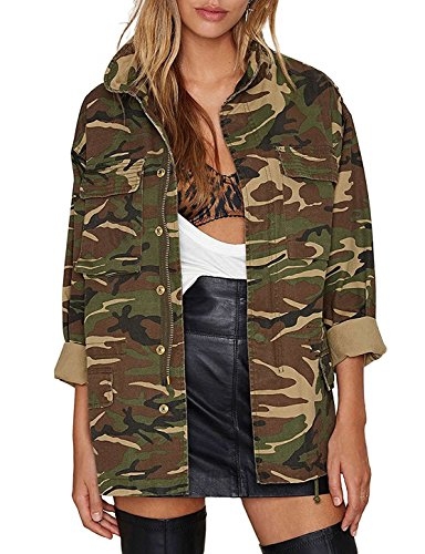 (IRISIE Women Military Camo Lightweight Long Sleeve Jacket Coat(XL,Army Green))