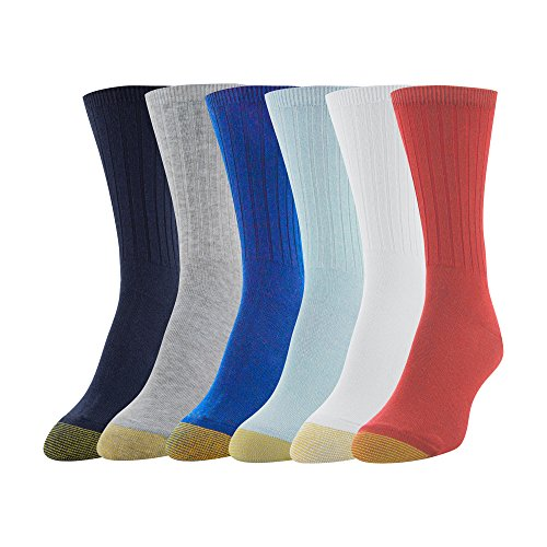 - Gold Toe Women's 6-Pack Casual Ribbed Crew Sock, Classic Mix, Shoe Size: 6-9