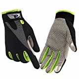 HENDGO Cycling Motorcycle Gloves Lce Silk High Elastic Breathable Silicone Non-Slip, Sunscreen, Breathable, Anti-Static.Outdoor Sports Gloves, Full Finger And Half Finger. (Full Finger-Green, L)