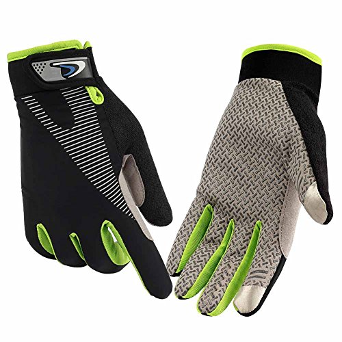HENDGO Cycling Gloves Lce Silk High Elastic Breathable Silicone Non-Slip,Sunscreen, Breathable, Anti-Static.Outdoor Sports Gloves, Full Finger And Half Finger. (Full Finger-Green, S)