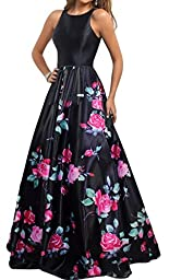 Meier Women\'s Long Sleeveless Open Back Print Formal Ball Gown size 4