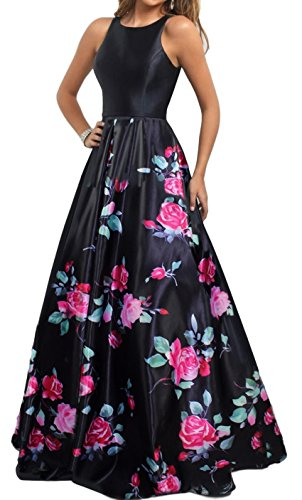 Meier Women's Long Sleeveless Open Back Print Formal Ball Gown size 8