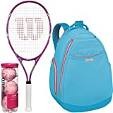 Wilson Triumph Pre-Strung Oversized Pink/White Tennis Racquet/Racket (4 1/4'' Grip) with a Aqua/Coral Women's Tennis Backpack and a Can of Pink Tennis Balls (Perfect for Women/Girls/Juniors)