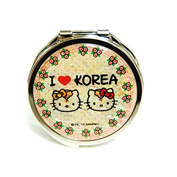 229140923 Amazon.com : Mother of Pearl Hello Kitty I Love Korea Design Double Compact  Magnifying Purse Mirror : Personal Makeup Mirrors : Beauty