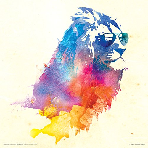 lion with sunglasses poster