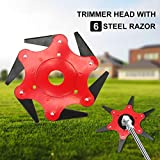 WICHEMI Lawn Mower Trimmer Head - Manganese Steel Alloy 6 Teeth Grass Cutter Head, 6 Steel Blades Razors 65Mn Lawnmower Grass Weed Eater Brush Cutter Garden Lawn Tool Replacement Parts