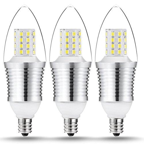 New Galaxy Lighting 9W LED Chandelier Candelabra Light Bulb, E12 Base 80 Watt Equivalent, 3000K Warm White, Pack of 3 (Led Candelabra Bulb 9w)