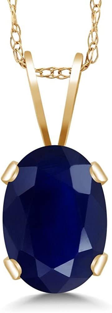 Gem Stone King 0.35 Ct Oval Blue Sapphire 18K Yellow Gold Plated Silver Starfish Necklace