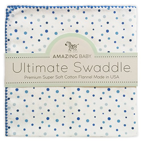 Blanket Swaddling Flannel Baby (Amazing Baby Ultimate Swaddle Blanket, Premium Cotton Flannel, Playful Dots, Multi Blue)
