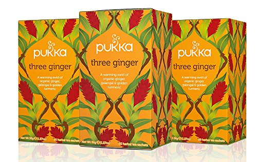 Pukka Three Ginger, Organic Herbal Tea with Galangal & Turmeric (3 Pack, 60 Tea -