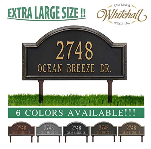 (Metal Address Plaque Personalized Cast Lawn Mounted Providence Arch (Large Option, 22.5