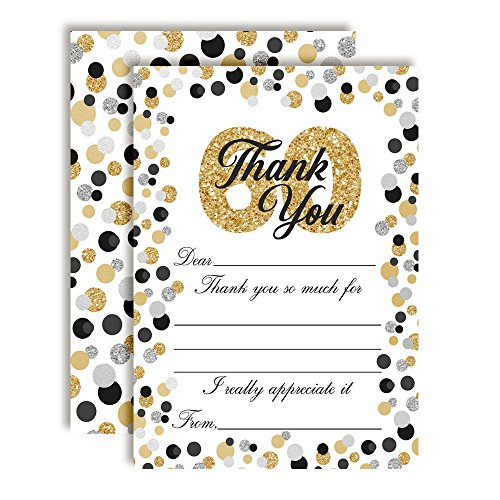 Border Bold Big (Confetti Polka Dot 60th Themed Thank You Notes, Ten 4