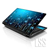 LSS 15 15.6 inch Laptop Notebook Skin Sticker Cover Art Decal Fits 13.3' 14' 15.6' 16' HP Dell Lenovo Apple Asus Acer Compaq (Free 2 Wrist Pad Included) Blue Floral