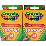 Crayola 24 Count Box of Crayons Non-Toxic Color Coloring School Supplies (2 Packs)