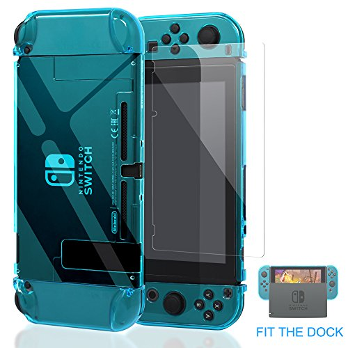 Case Blue Cover Protector (Case for Nintendo Switch,Fit The Dock Station, Protective Accessories Cover Case for Nintendo Switch and Joy-Con Controller - Dockable with a Tempered Glass Screen Protector,Crystal Clear Blue)