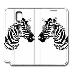 Brain114 Fashion Style Case Design Flip Folio PU Leather Cover Standup Cover Case with Cute Animals Zebra 11 Pattern Skin for Samsung Galaxy Note 3