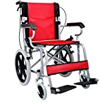 Foldable Lightweight Manual Transport Medical Wheelchair Red 24-lb 2018 Best Model