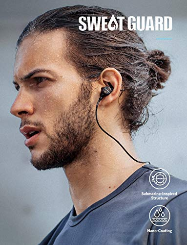 Anker Bluetooth Headphones, Soundcore Spirit Sports Earbuds, Bluetooth 5.0, 8H Battery, IPX7 Waterproof, SweatGuard, Comfortable Wireless Headphones, Secure Fit for Running, Gym, Workout