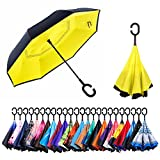 AmaGo Inverted Umbrella – Reverse Double Layer Umbrella, C-Shape Handle & Self-Stand to Spare Hands, Inside-Out Fold to Keep Cars & Driver Dry, Carrying Bag Easy Traveling