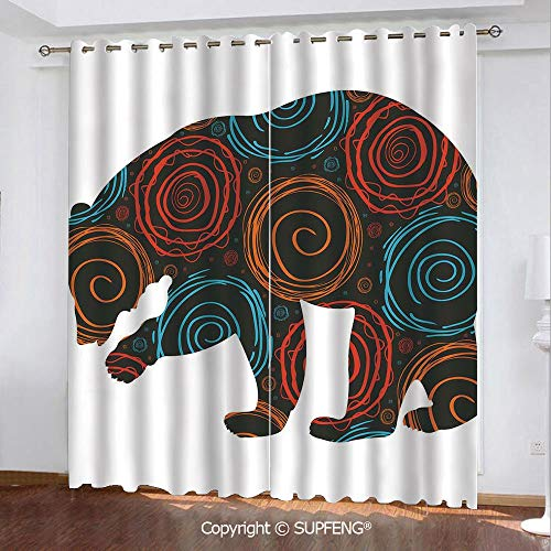 FashSam Printed Curtain Cute Bear Silhouette Covered with Abstract Circular Spiral Shapes Dots Illustration (2 Panels Measures: 108W x 84L Inch) Privacy Excellent Touch Environmentally Friendly