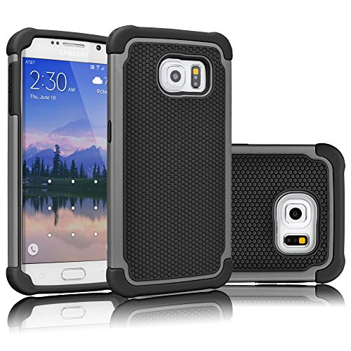 Tekcoo for Galaxy S6 Case, [Tmajor Series] [Gray/Black] Shock Absorbing Hybrid Rubber Plastic Impact Defender Rugged Slim Hard Case Cover Shell for Samsung Galaxy S6 S VI G9200 GS6 All Carriers