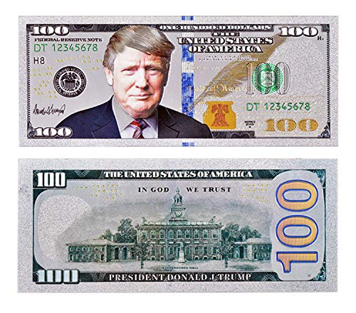 Donald Trump $100 Bill - Authentic Silver Plated Commemorative Bank Note Collectors Item in Currency Holder - Amazing Detail On This Federal Trump - Legal Currency Tender