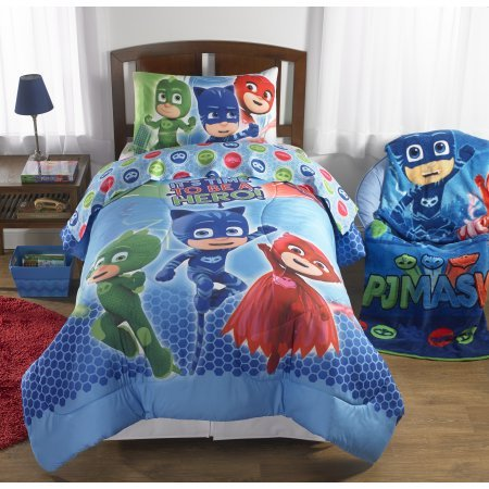 Convenient, Machine Washable, Super Soft PJ Masks 'On Our Way' Reversible Twin/Full Comforter, (Quilt Mask)