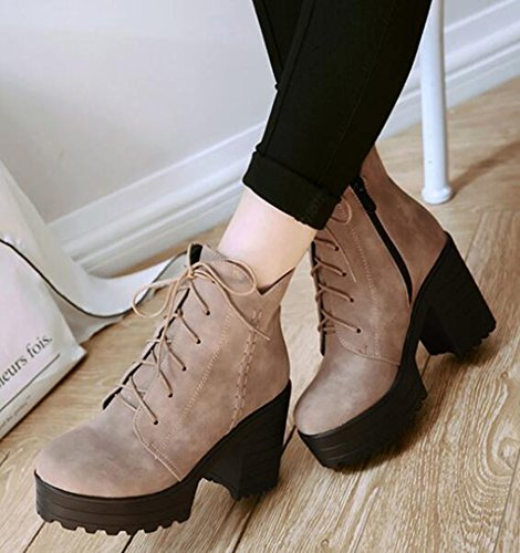 IDIFU Heels Boots Women's Martin Chunky Up Ankle Lace Short Apricot Side Retro High Zipper Platform wRHqxHrO