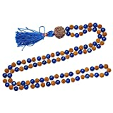 Healing 108 knotted Mala Beads japa Rudraksha Blue Agate Tibet Buddhist Prayer Necklace