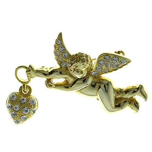 Gold-Tone Metal Cherub Brooch-Pin With Crystal Accents LQP197 ()