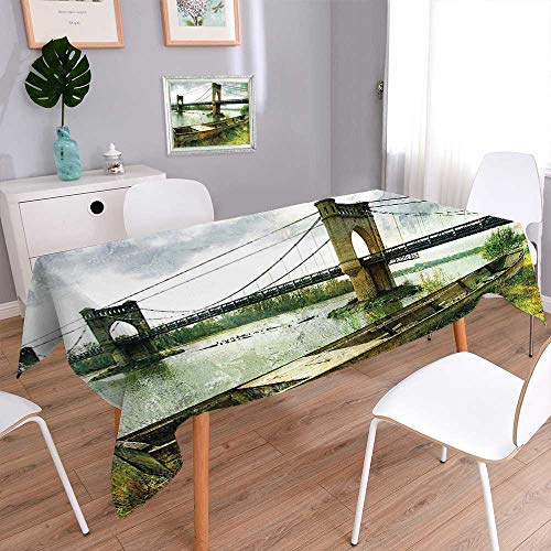 L-QN Rectangular Polyester Polyester Tablecloth Bridge and Old