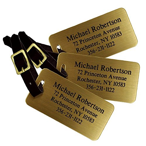 Personalized Luggage Tags, Sublimated Brass Luggage Tags with Leather Strap (Set of 3 Luggage Tags) by 904 Custom