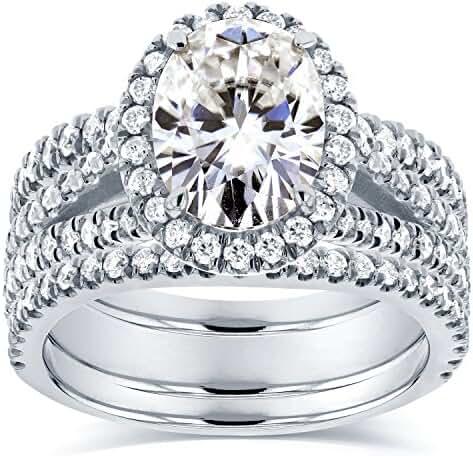 Oval Moissanite Bridal Set with Halo Diamond 2 2/5 CTW 14k White Gold (3-Piece Set)