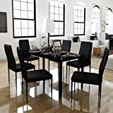 Artificial Leather Dining Set 6 Chairs + 1 Table Contemporary Design, Black