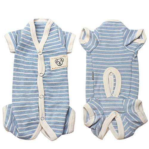 TONY HOBY Female/Male Pet Dog Pajamas Stripes 4 Legged Dog pjs Jumpsuit Soft Cotton Dog Clothes(L, Blue+White-Boys)]()