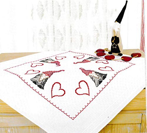 Printed Cross Stitch Tablecloth - Printed Stamped Cross Stitch Tablecloth Kit for Embroidery (Gnome 8056)