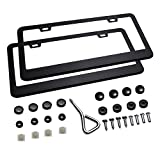 Ohuhu Matte Aluminum License Plate Frame with Chrome Screw Caps, 2Pcs 2 Holes Black Licenses Plates Frames, Car Licenses Plate Covers Holders